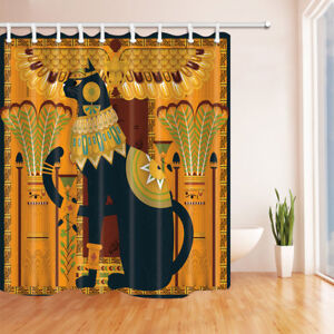 Image Is Loading Egypt Black Cat And Feather Bathroom Waterproof Fabric