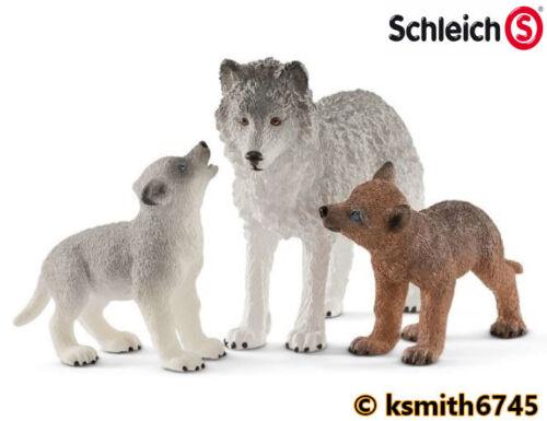 Schleich Wolf /& Cub Set Jouet en plastique Wild Zoo Animal figure dog Predator nouveau