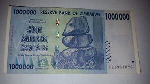ZIMBABWE 1 MILLION DOLLARS 2008 P 77 CIRCULATED SERIES 100 TRILLION LOT of Two