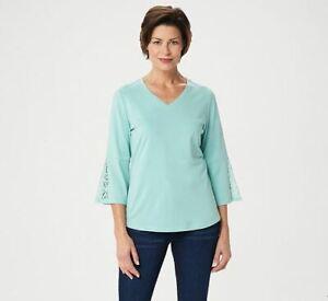 Denim-amp-Co-Women-039-s-Size-L-V-Neck-3-4-Sleeve-Knit-Top-Lace-Crochet-Sleeve-A352785
