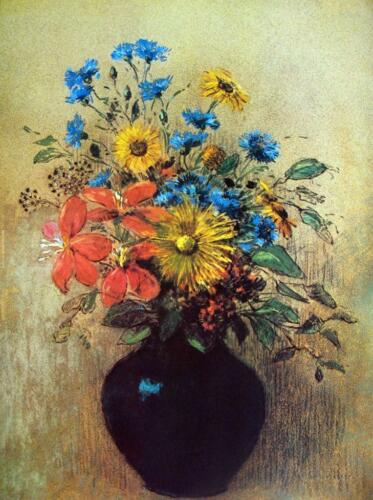 "Odilon Redon Flowers from a field Abstract Art CANVAS PRINT poster 24""X18"""