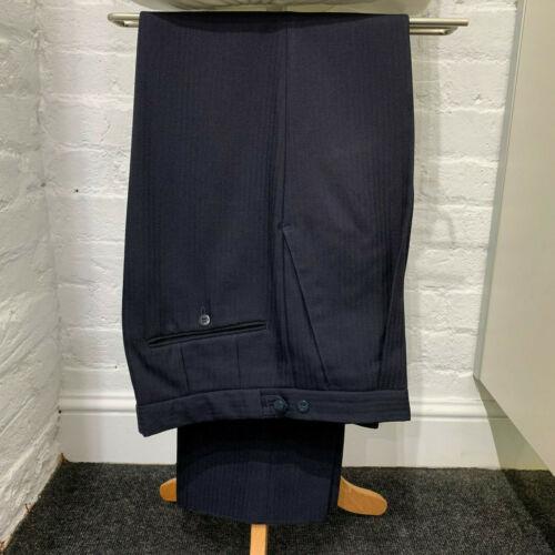 Ex Location traditionnel de plis devant Pure Laine Bleu Marine à Chevrons Pantalon AFW