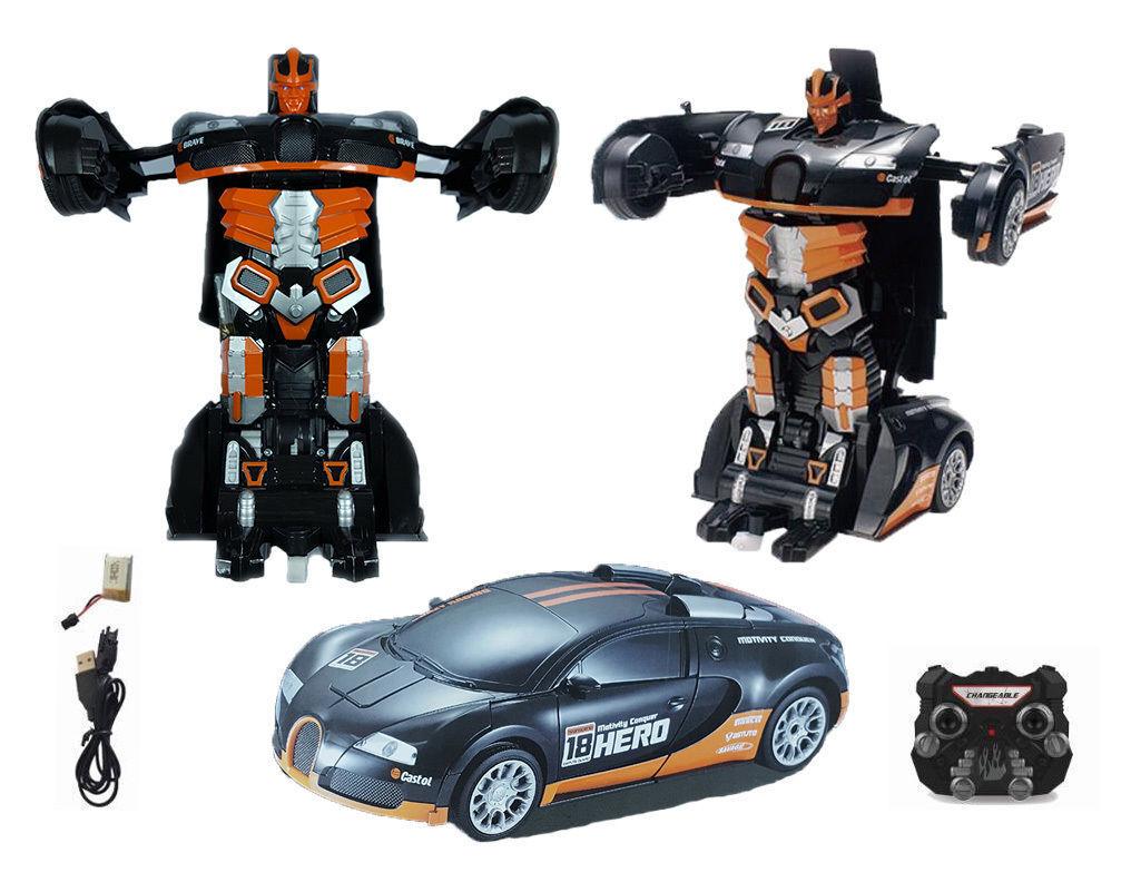 High Quality orange Transformers R C Deformation Car into Robot Bugatti Veyron