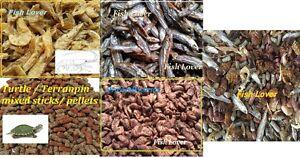Complete Tortue Terrapin Food Treat, vers à soie, crevettes, poisson séché, pellets, mélange
