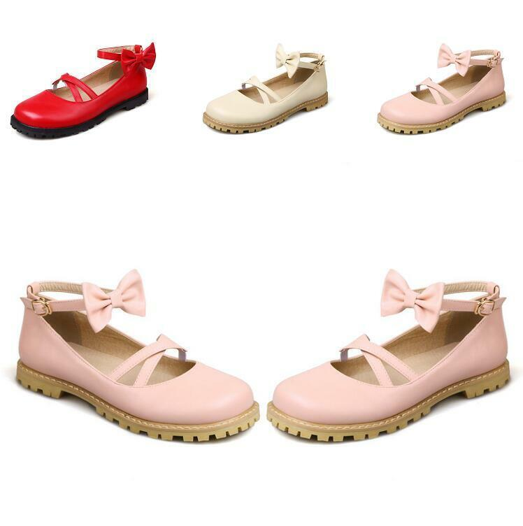 Femme Noeud Cheville Sangles Round Toe Flats Cross Strap Mary Jane chaussures lolita