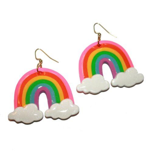 Blush Daisy Rainbow Earrings - kitsch cute hand ma
