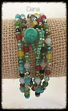 Multi-Color- Semi-Precious-Faceted Crystal-Toggle Beaded-Wrap-Necklace-Bracelet
