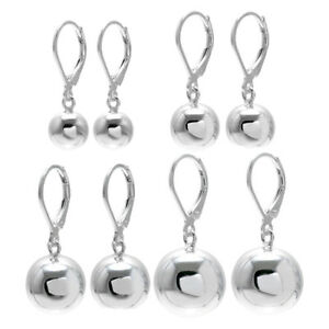 a6e61103f81f7 Details about 925 Sterling Silver Ball Drop Earrings with Lever Back (4  Sizes)