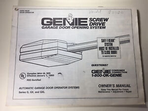 Genie Screw Drive Series G Gx Amp Gxl Garage Door Opener