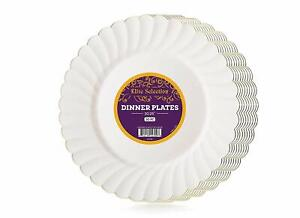 Bulk Pack 50 Disposable Party Plastic Plates Cream Ivory Color With Silver Rim