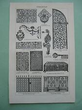 stampa antica ANTICHITA ferro battuto cancello ringhiera lampione fregio 1923