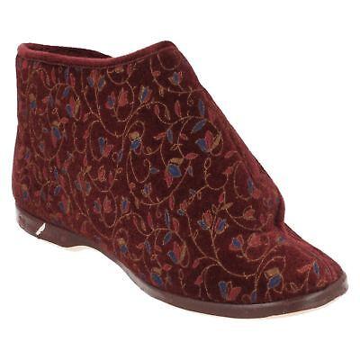 Ladylove 'Edith' Damas Borgoña Floral amplia apertura Zapatillas De Arranque