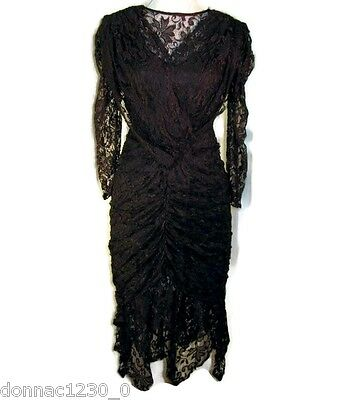 A La Carte Vtg Womens 3 Lace Dress Black Illusion Handkerchief Ruched Juniors