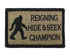 Bigfoot Reigning Hide and Seek Champion Hook & Loop Morale Tags Patch CB
