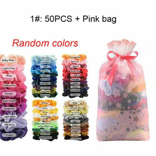 Hair Scrunchies Velvet Scrunchy Bobbles Elastic Hair Bands Holder+Pink Bag Pack