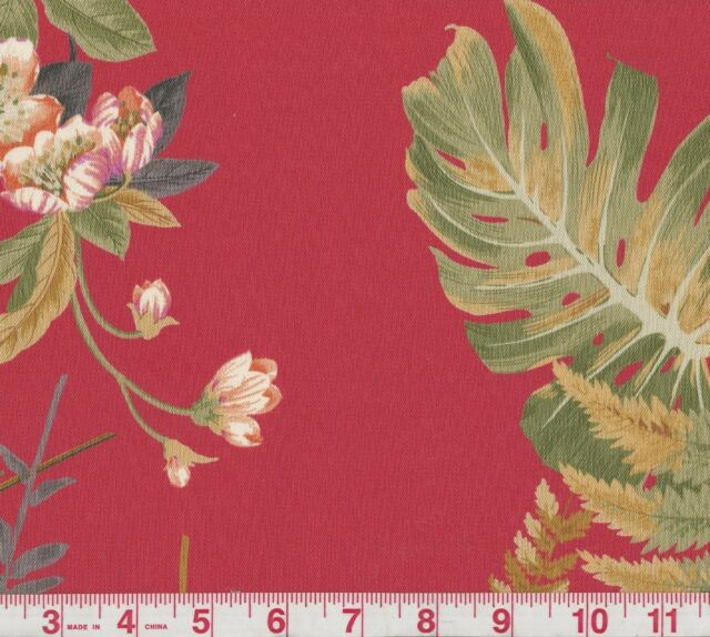 P Kaufmann Green House Crimson Red Floral Print Fabric BTY