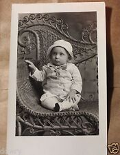 RPPC REAL PHOTO POST CARD CHILD BABY ON VICTORIAN WICKER CHAIR CANTON,SD