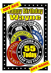 NORTHERN SOUL (PATCHES) - HAPPY BIRTHDAY PERSONALISED CARD (ANY NAME / AGE) NEW