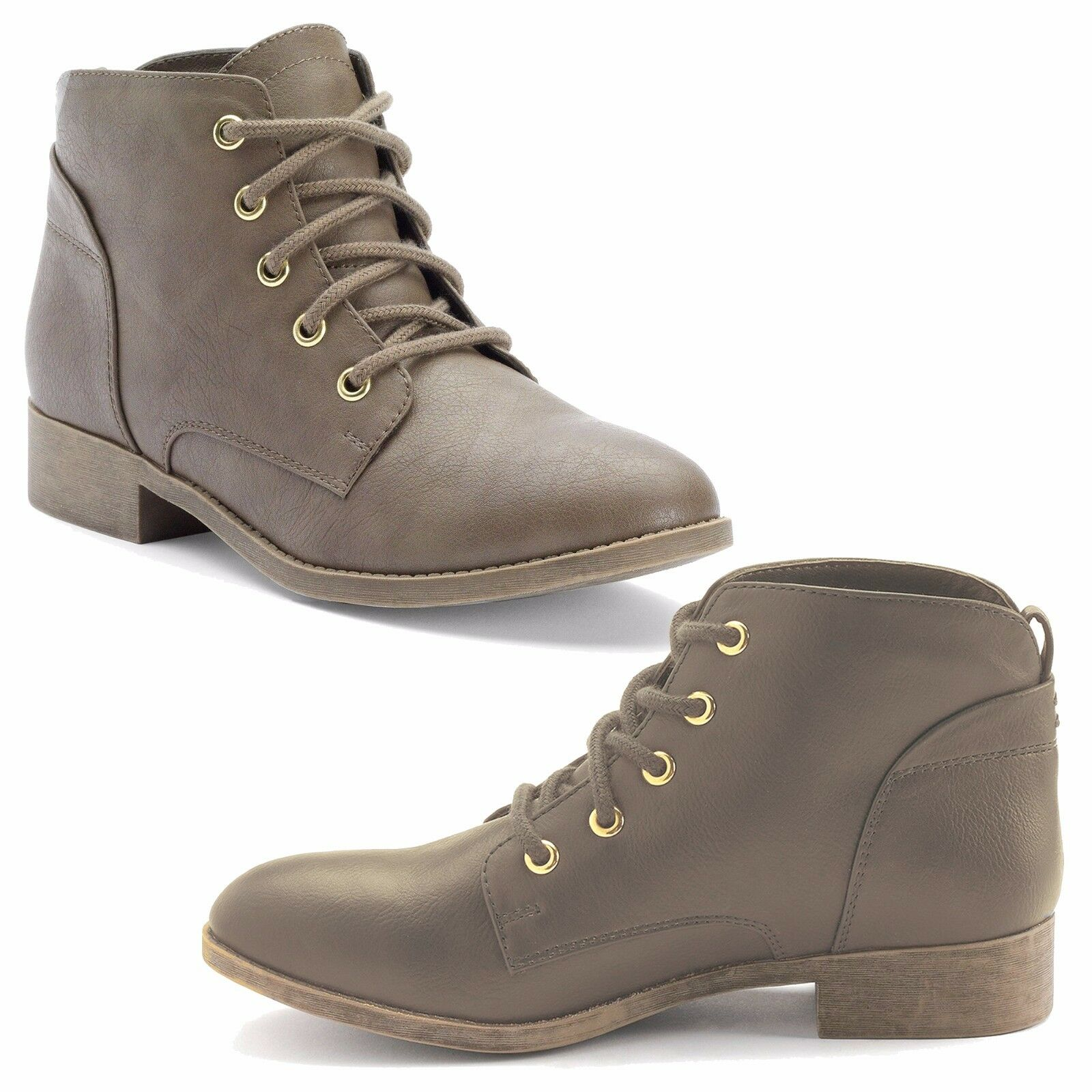 New Candie's Women's Lace-Up Ankle Boots Faux Leather Taupe Size 9 MSRP