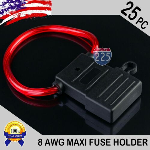 25 Pack 8 Gauge APX MAXI Inline Blade Fuse Holder w// Waterproof Cap Heavy Duty