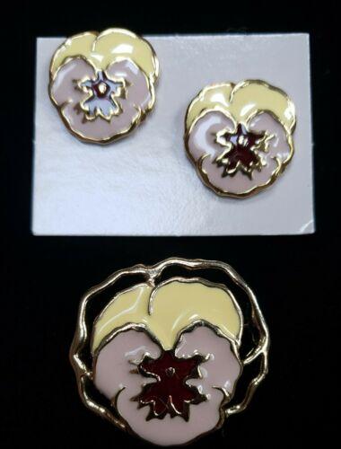 Vintage Avon New In Box Full Bloom Pin & Earrings