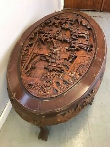 Details About Restoration Project Oriental Carved Coffee Table Teak