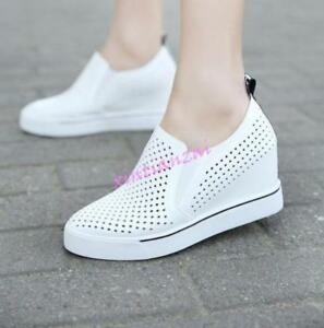 c6a0955c56315e Image is loading Womens-2018-Spring-Breathable-Wedge-Heels-Sneakers-Summer-