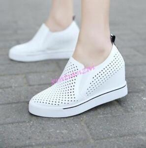 759b7c340 Image is loading Womens-2018-Spring-Breathable-Wedge-Heels-Sneakers-Summer-