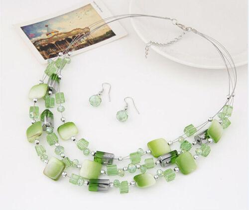 Fashion Elegant Shell cristal collier boucles d/'oreilles Bib Choker Mariage Fête Bijoux