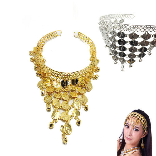 Women Belly Dance Accessories Costume Dancing Coin Sequins Hair Band Headband BP