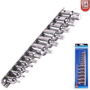 Bluespot-12pc-Male-Torx-Bit-Star-Socket-Set-With-Rail-1-4-034-3-8-034-Drive-T10-T60