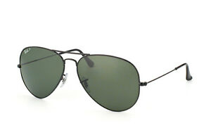 SUNGLASSES-RAY-BAN-AVIATOR-3025-002-58-POLARIZED-55-14-SMALL-SIZE-NERO