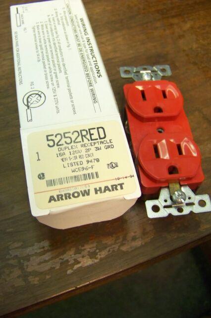 125 Volt Narrow Body NEMA 5-15R new cooper arrow hart 5252-R red 15 Amp Red
