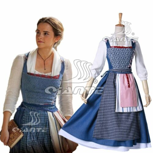 2017 Movie Beauty and the Beast Belle Blue Maid Costume Cosplay Dress Full Set
