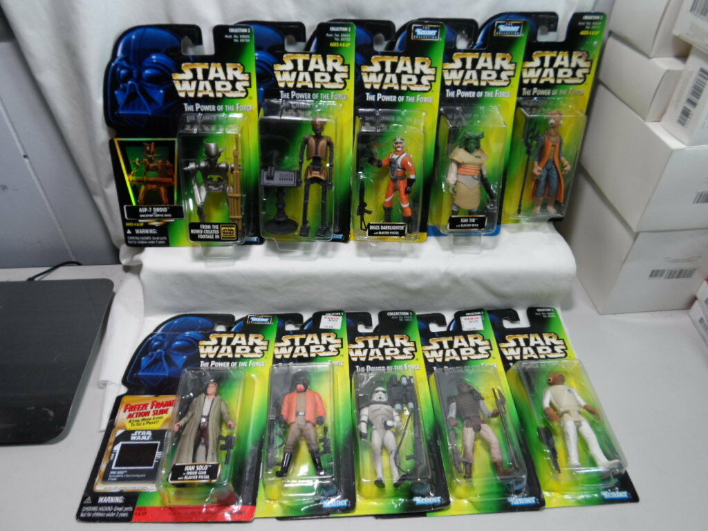 Lot Of 10 Kenner Star Wars The Power Of The Force Aktion Figuren Han Solo Baba