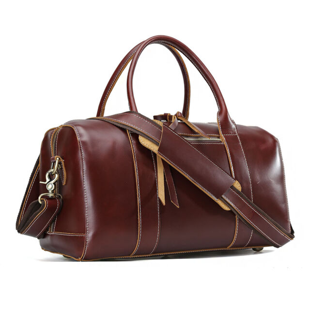 New Gents Women Real Leather Travel Bag Shopping Gym Suitcase Weekend Luggage