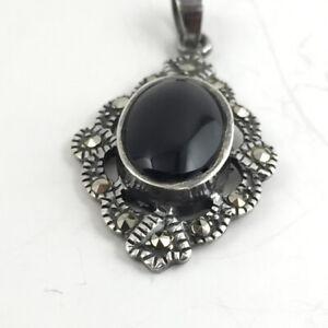 Black-Onyx-Vintage-Sterling-Silver-Pendant-Marcasite-Accents