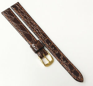 Speidel-Genuine-Leather-Brown-Tone-Germany-10mm-Gold-Buckle-Watch-Band