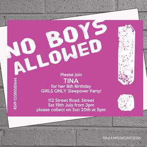 Girls Sleepover Pyjama No Boys Kids Birthday Party Invitations X12