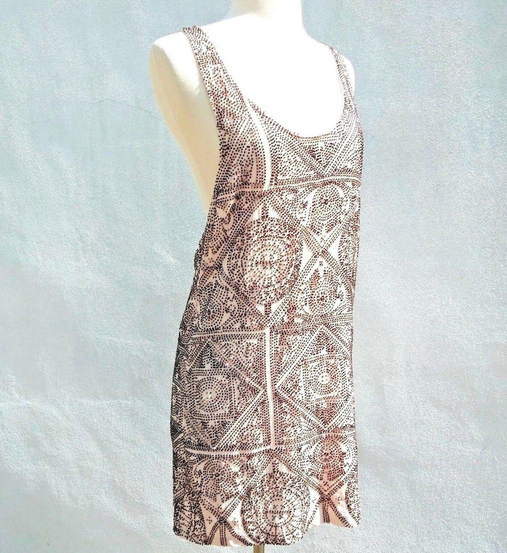 CLEOBELLA Womens NUDE TAN SEQUIN BEADED TANK MINI DRESS Metallic Copper Sz.S