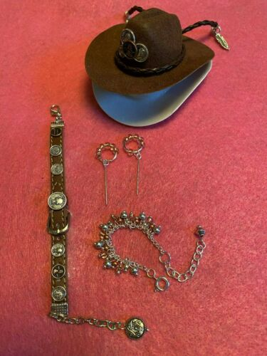 Coins Cowboy Hat /& Belt Handmade Jewelry for Barbie Necklace and Earrings