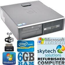 Fast Windows 7 PRO Computer HP Dual Core Huge 6GB RAM DVD WiFi Cheap Desktop PC
