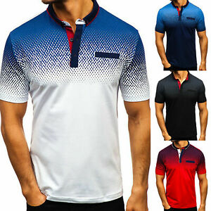 Polo-Shirts-Mens-Tee-Top-Short-Sleeve-Muscle-Summer-T-Shirt-Golf-Plain-Casual