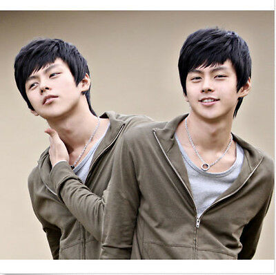 Fashion-Handsome-Boys-Mens-Male-Short-Layered-Black-Hair-Wig-Cosplay-Wigs New