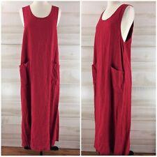 Mishi 100% linen lagenlook long tunic maxi dress pockets casual chic classic M