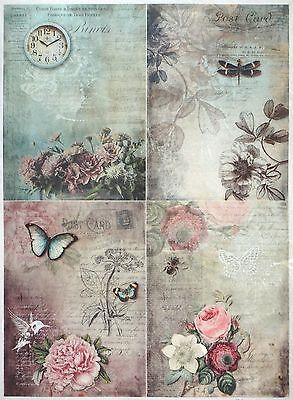 4x serviettes en papier pour découpage DECOPATCH Sagen Vintage Girl poème