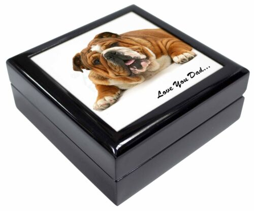 Bulldog /'Love You Dad/' Sentiment Keepsake//Jewellery Box Christmas Gif DAD-169JB