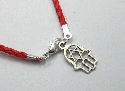 10 Mixte la Kabbale Hamsa Main Charms Rouge leatheroid Tressé Chaîne Bracelets