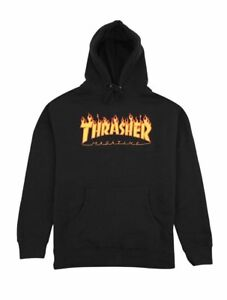 Thrasher-FLAME-LOGO-HOODIE-Black-Yellow-Orange-Graphic-Pullover-Men-039-s-Sweatshirt
