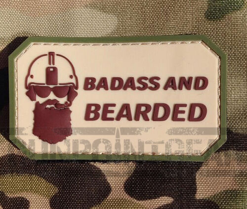 Gun Point Gear Velcro Morale Patch Badass and Bearded Operator PVC Patch